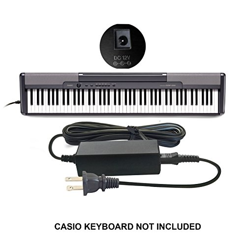 Compatible/Replacement Casio DC 12V / 12 Volt Adapter Power Supply Cord AD-12M3, AD-12MLA(U), AD-12MLA, AD-12M, AD-12UL, AD-12, AD-12FL, FC2, TJ2 for Select Casio Keyboards Digital Piano Synthesizers