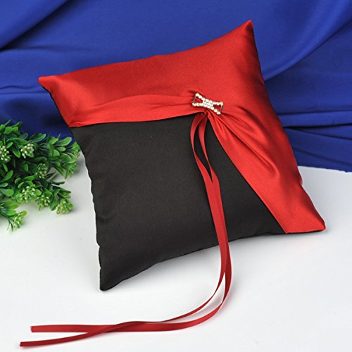 CheckMineOut 8''x8'' Black & Red Diamante Ring Bearer Pillow Wedding Favors Bridal Shower Party Decoration