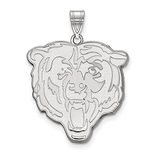 Sterling Silver Chicago Bears Charm - Sterling Silver Rhodium Plated Chicago Bears XL Pendant, Sterling Silver