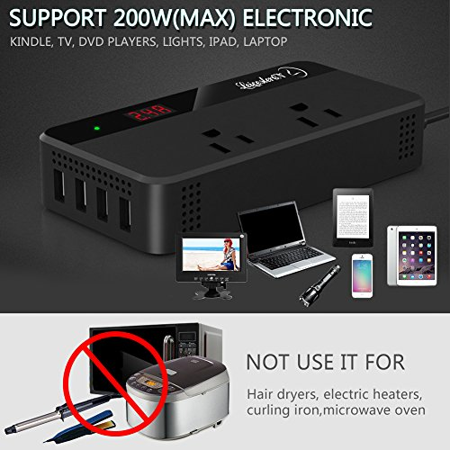 200W Car Power Inverter DC 12V to AC 110V Converter with Smart 4 USB Ports Adapter 2 AC Outlets Sockets Charger (Black) by LEICESTERCN (Image #5)