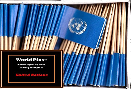 (One Box United Nations Toothpick Flags, 100 Small Mini United Nation UN Flag Cupcake Toothpicks or Cocktail)