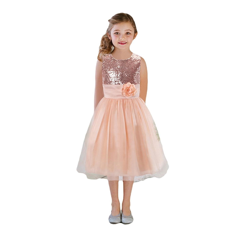 eb77ad71761c6 Lihaer Petite Fille Paillettes Jupe Robe De Princesse Cérémonie Mariage Robe  De Soirée Sans Manches