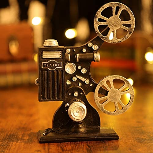 VOSAREA MOVIE FILM PROJECTOR MODEL VINTAGE STYLE RESIN PROJECTOR MODEL DESKTOP CRAFTS HOME DECORATION(BLACK)