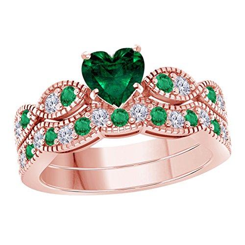 1.00 Ct Created Heart Shape Green Emerald & White Simulated Diamond Milgrain Weave Engagement Wedding Ring Set 14K Rose Gold Plated
