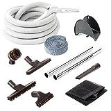 Plastiflex Central Vacuum Deluxe Hardwood Floor Cleaning Kit with 30' Hose & Accessories
