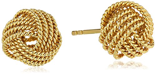 (Amazon Essentials Yellow Gold Plated Sterling Silver Twisted Love Knot Stud Earrings)