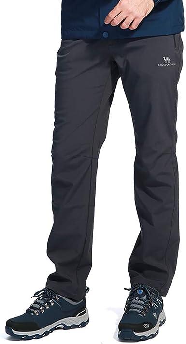 CAMEL CROWN Pantalones Trekking Hombre Impermeables Pantalones Softshell con Forro de Lana a Prueba de Viento Ligero Pantalon Deportivo para ...