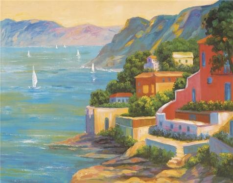 Oil painting 'the Town and the Sea View' printing on Perfect effect Canvas , 8x10 inch / 20x26 cm ,the best Game Room gallery art and Home artwork and Gifts is this Reproductions Art Decorative Canvas Prints