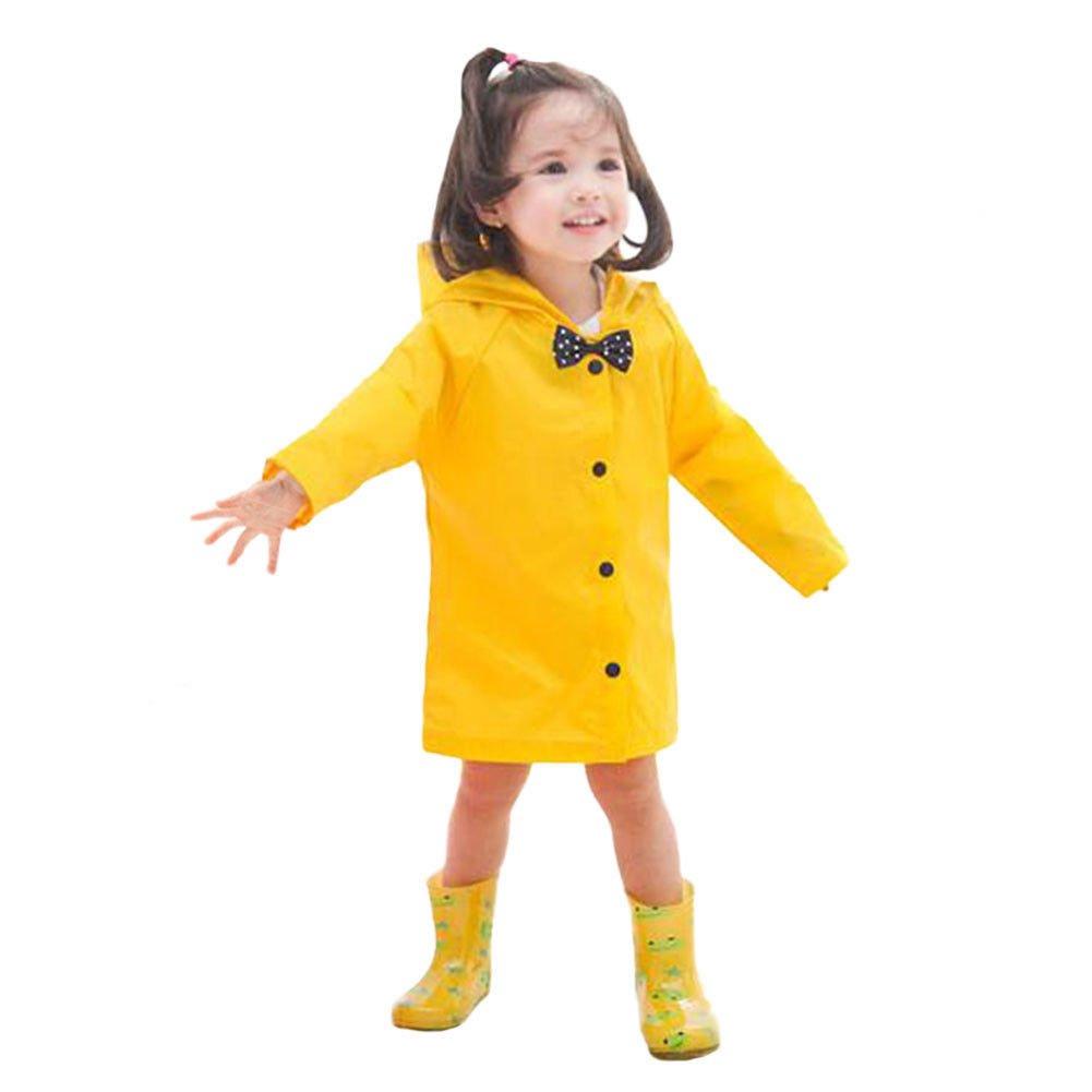 Bowknot Lightweight Hooded Raincoat Meijunter Rainwear Poncho for Kid Girls