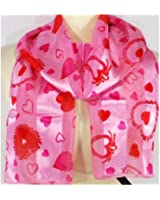 """Scarf / Belt ~ Valentine ~ Pink with Red Hearts ~ 13"""" x 60"""""""