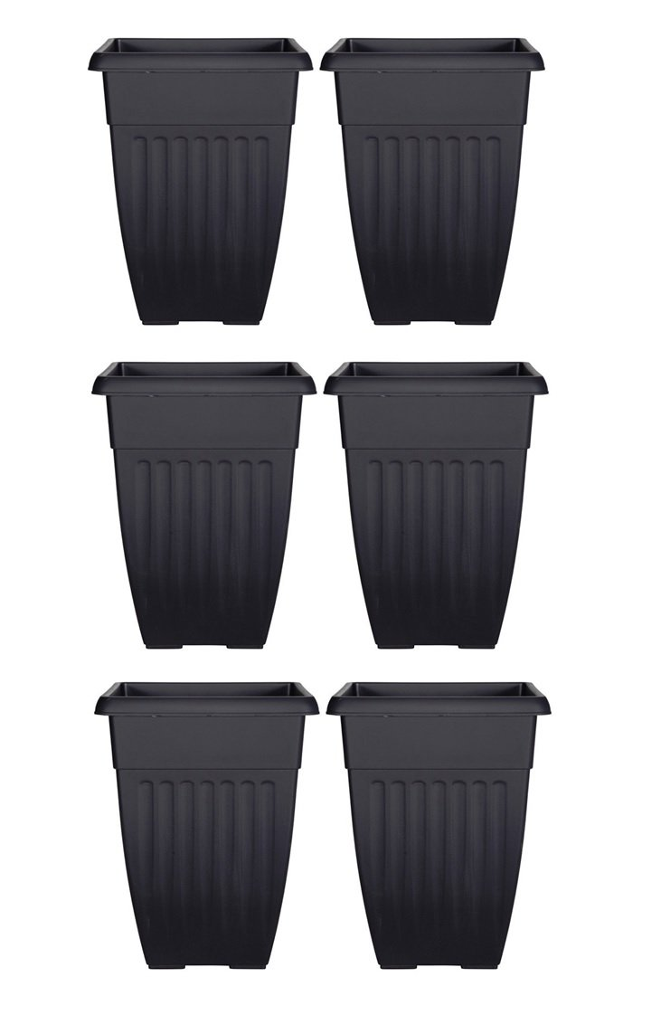 Tall Athens Plant Pot Tall Planter - 42cm Black Colour SET OF 6 Whitefurze