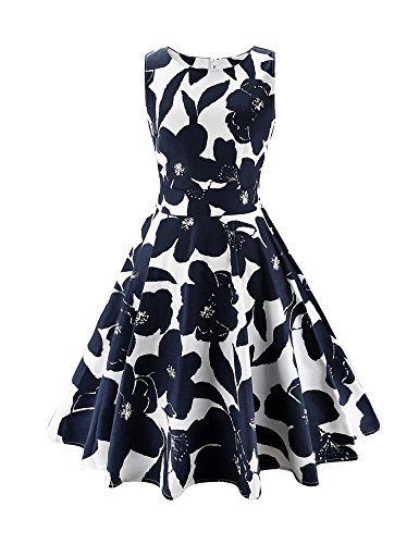 ARANEE Vintage Classy Floral Sleeveless Party Picnic Party Cocktail Dress,XX-Large,02-navyblue+white