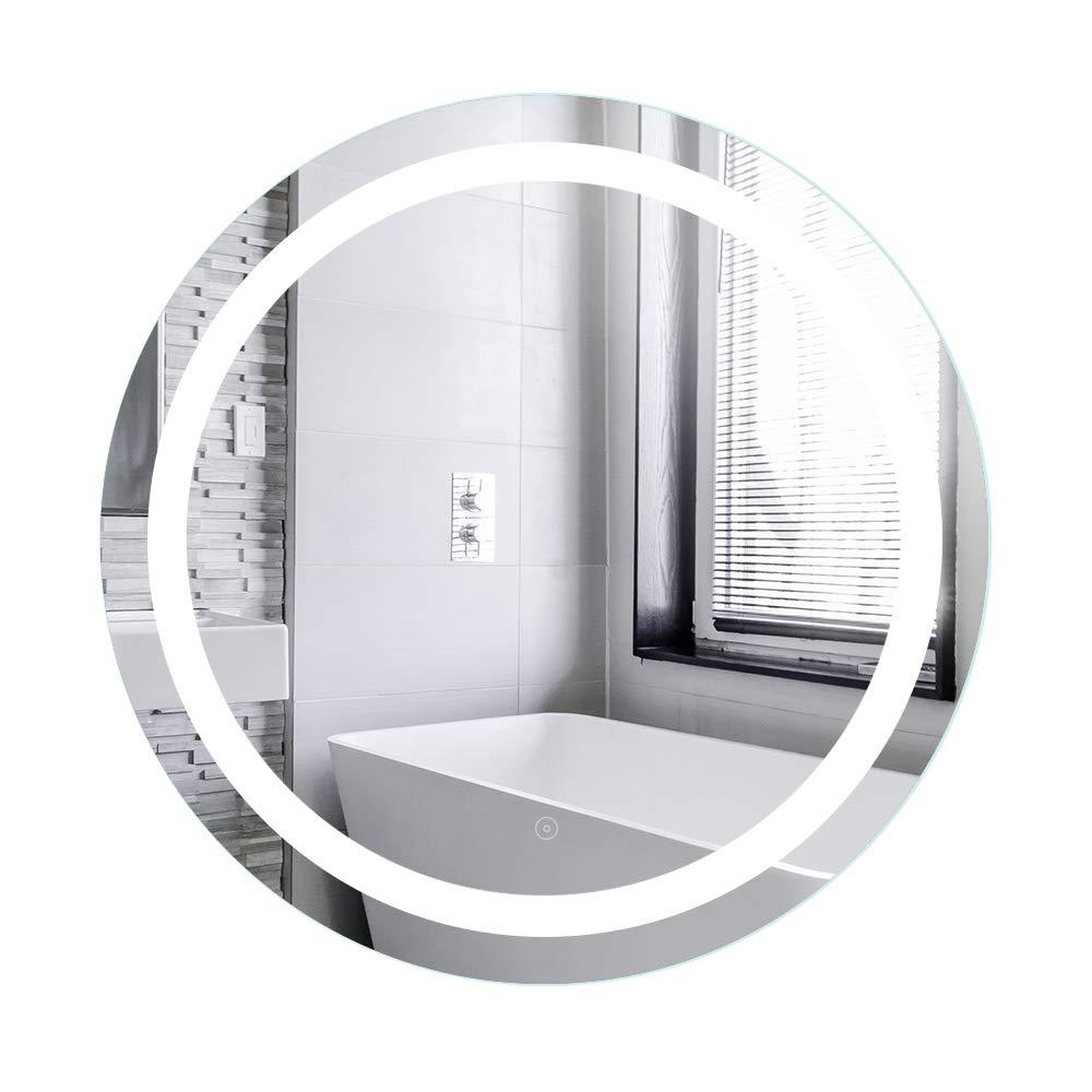 POPSPARK Specchio per Il Trucco Design a Specchio con Interruttore tattile,con Anti-Nebbia,per Bagno Bagno a Specchio Rotondo con Illuminazione a LED 60 * 60 * 4.5cm,Bianco Caldo