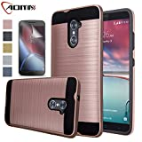 zte imperial 2 cases - ZTE Imperial Max Case, ZTE Grand X Max 2 Case, Aomax Hard Silicone Rubber Hybrid Armor Shockproof Protective Holster Cover Case With HD Screen Protector For ZTE Kirk Z988 / Duo Z963U VLS Rose Gold