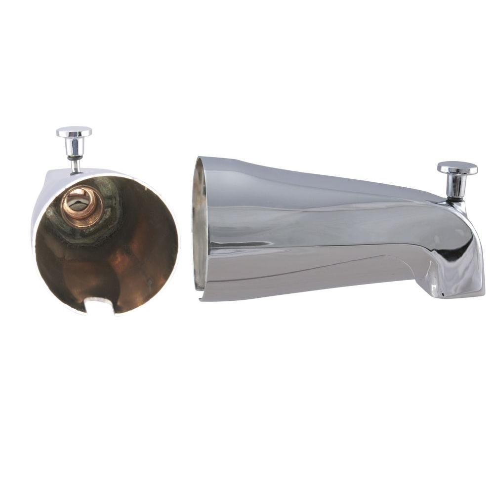 Westbrass E531D-1F 5-1/4-Inch Front Diverter Tub Spout with Front Connection, Chrome