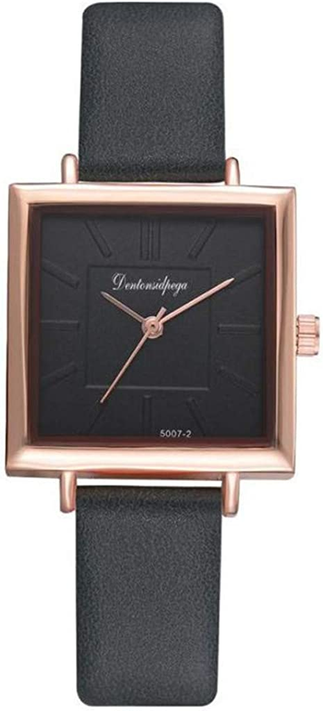 Yivise Mujeres Niñas Reloj de Pulsera de Cuarzo analógico Creativo Simple Reloj de Esfera Cuadrada Reloj de Pulsera de Cuarzo analógico