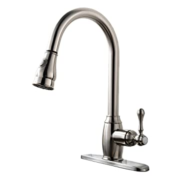 VAPSINT Solid Brass Single Handle Pull Out Sprayer Brushed Nickel Kitchen  Sink Faucet, Pull Down