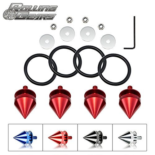 JDM Bumper Quick Release Front Rear Bumper Fasteners, Spike 4 Piece (Red), 4 x O-Ring ...
