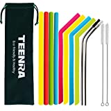 TEENRA Reusable Silicone Straws, Stainless Steel Drinking Straw with Silicone Tips for 30&40 oz Yeti/Rtic Tumbler, 2pcs Cleaning Brush and Storage Pouch, 12pcs/Set