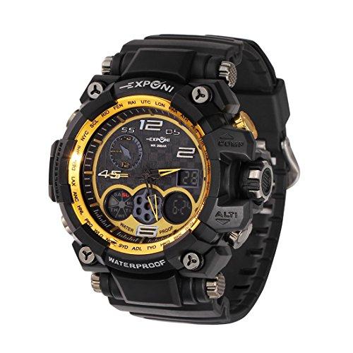 (SINOBI Men's Sport Watch Digital Analog Waterproof Military LED Rubber Strap Wrist Chronograph)