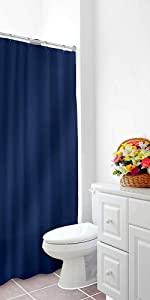 """Home Expressions Heavy Duty Vinyl Magnetic Shower Curtain Liner 70""""x72"""" (Navy)"""