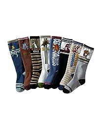 Little boys Knee High Socks Cotton Comfort Dinasour Socks 8 Pair Pack