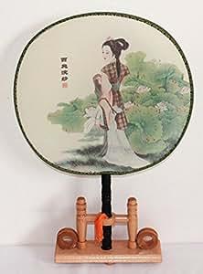 Auténtica mano chino Compartimiento 035, verano Abanico decorativo con diseño geisha