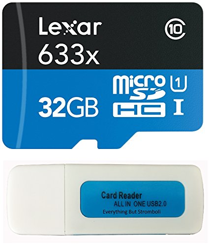 Lexar 32GB MicroSDHC 633x for Gopro Hero 6, Hero 5, Karma Drone, Hero 4, Session, Hero 3, 3+, Hero + Black Silver White 4K Action Camera UHS-I Micro Memory Card w/ Everything But Stromboli Reader