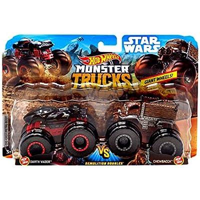 Hot Wheels Monster Trucks Demolition Doubles Star Wars Edition Darth Vader VS Chewbacca: Toys & Games