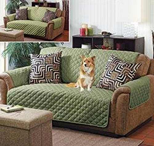 Home Details 1682-SAGE-OLIVE Quilted Reversible Furniture Protector Slipcover, Good for Dog Hair, Dust & Spills, Machine Washable, Sofa Sage-Olive by Home Details