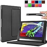 Infiland Lenovo Yoga Tablet 2 8 Funda Case-Folio PU Cuero Cascara Delgada con Soporte para Lenovo Yoga Tablet 2-8 20,32 cm (8 pulgadas) Tablet-PC Android y Windows Versión(con Auto Reposo / Activación Función)(Negro)