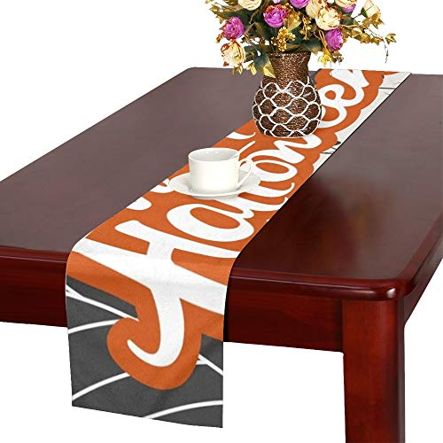 WHIOFE Creative Scary Halloween Celebration Happy Table Runner, Kitchen Dining Table Runner 16 X 72 Inch for Dinner Parties, Events, Decor]()