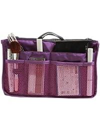 Nylon Handbag Insert Comestic Gadget Purse Organizer, Expandable w/ Handles (Wine Red)