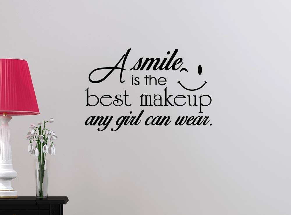 A smile is the best makeup a girl can wear Happy Love girl's room college dorm vinyl saying lettering wall art inspirational sign wall quote decor
