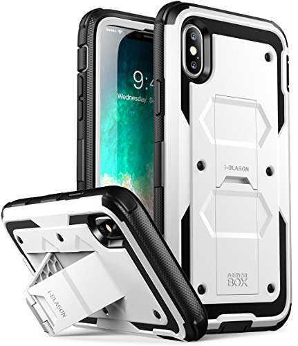 i-Blason Case Designed for iPhone X/iPhone Xs, [Armorbox V2.0] [Built in Tempered Glass Screen Protector][Full Body] [Heavy Duty Protection] [Kickstand] Shock Reduction Case (White)