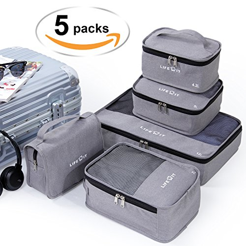 Lifewit 5 Set Packing Cubes Travel Luggage Organizers Storage Bags,Extensible Mesh Clothes...
