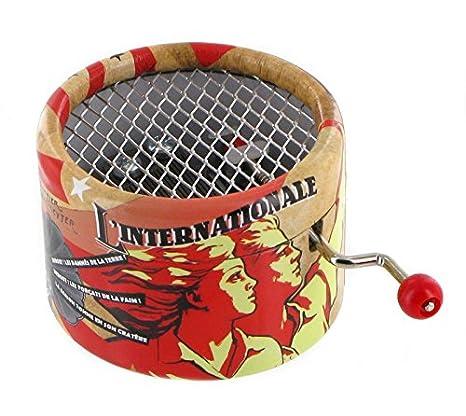 Caja de música de manivela de cartón adornado - La internacional (Pierre Degeyter)
