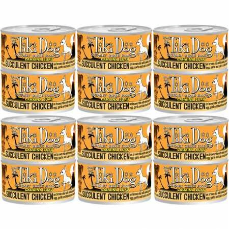 Tiki Dog Gourmet Whole Food 12-Pack Lahaina Luau Succulent Chicken Breast on Brown Rice with Sweet Potato, Crab, Kale and Garlic in Consomme Pet Food