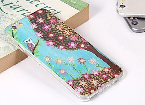 "JewelryWe Nette Eule FRÜHLINGSBAUM bunte Blumen TPU Silikon Handy Case Schutzhülle Tasche Hülle Rückenschutzhülle Etui Schale Cover für Apple iPhone 6(4,7"") mehrfarbig"