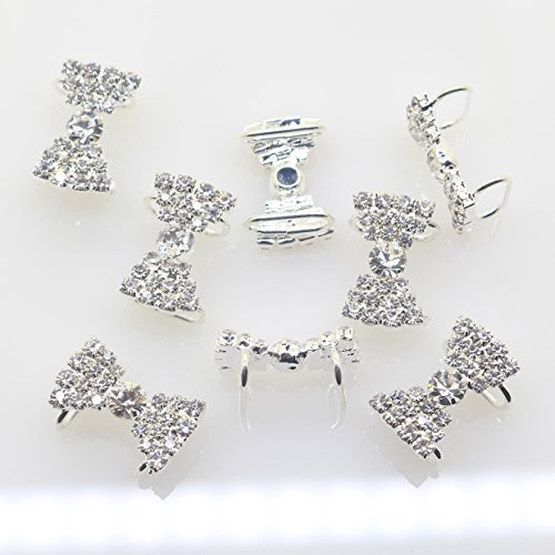10mm Slider Letter - XINXI 20MMX12MM 30pcs Butterfly-Shaped Ribbon Rhinestone Buckle Double Slider for Wedding Invitation Letter