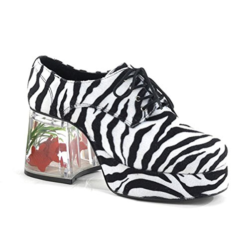 Funtasma Mens Platform Fish Filled 3 1/2 Inch Heel Retro Disco Lace Up Zebra Print Shoes Size: Medium