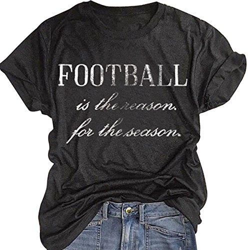 Football Print T-shirt (Football Is The Reason For The Season T-Shirt Women Letter Print Top Casual Tees size L (Dark Gray))