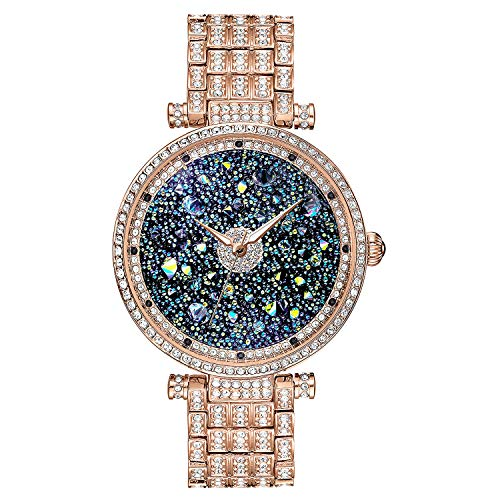 ♥ Gift for Her ♥ Rose Gold Diamond Watch Premium, Crystal Accented & Platinum Plated Stainless Steel Watch, Women Watch Rose Gold, Womens Crystal Rose Gold ()
