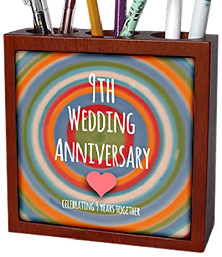 (3dRose ph_154440_1 9Th Wedding Pottery Celebrating 9 Years Together Ninth Anniversaries Nine Yrs Tile Pen Holder, 5-Inch)