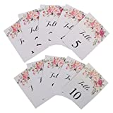Jili Online Freestanding 1-10 Numbers Place Cards Paper Table Markers w/ Printed Flower Wedding Decor Pack of 10