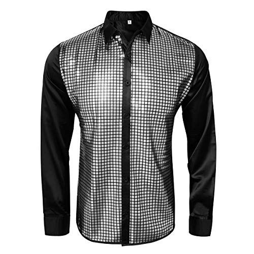 AMNPOLEN Mens Metallic Shiny Nightclub Costume Sequins Snakeskin Shirt Long Sleeve Slim Fit Button Down 70s Disco Party Fancy Dress Props (Smalll, Black) ()