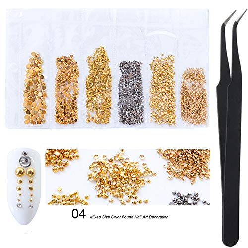 WOKOTO Gold And Black Mix Size Round Metal Nail Art for sale  Delivered anywhere in USA