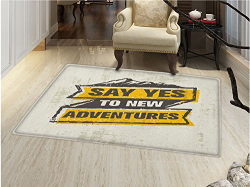 - smallbeefly Adventure Bath Mats Carpet Explore the Great Outdoors Theme Retro Label Grungy Sketch Mountains Floor Mat Pattern Marigold Black Coconut