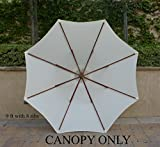Replacement Umbrella Canopy for 9ft 8 Ribs Off White (Canopy Only)