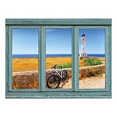 Wall26 - View of a Lighthouse and Seawall Overlooking an Calm Ocean - Wall Mural, Removable Sticker, Home Decor - 36x48 inches